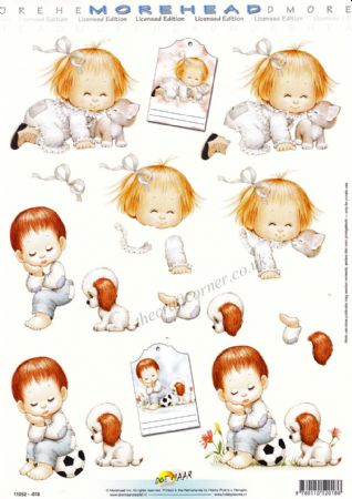 Morehead Cute Little Girl With A Kitten & Little Boy With A Puppy 3D Decoupage Sheet
